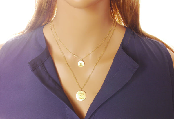 Layered Gold Initial Necklace