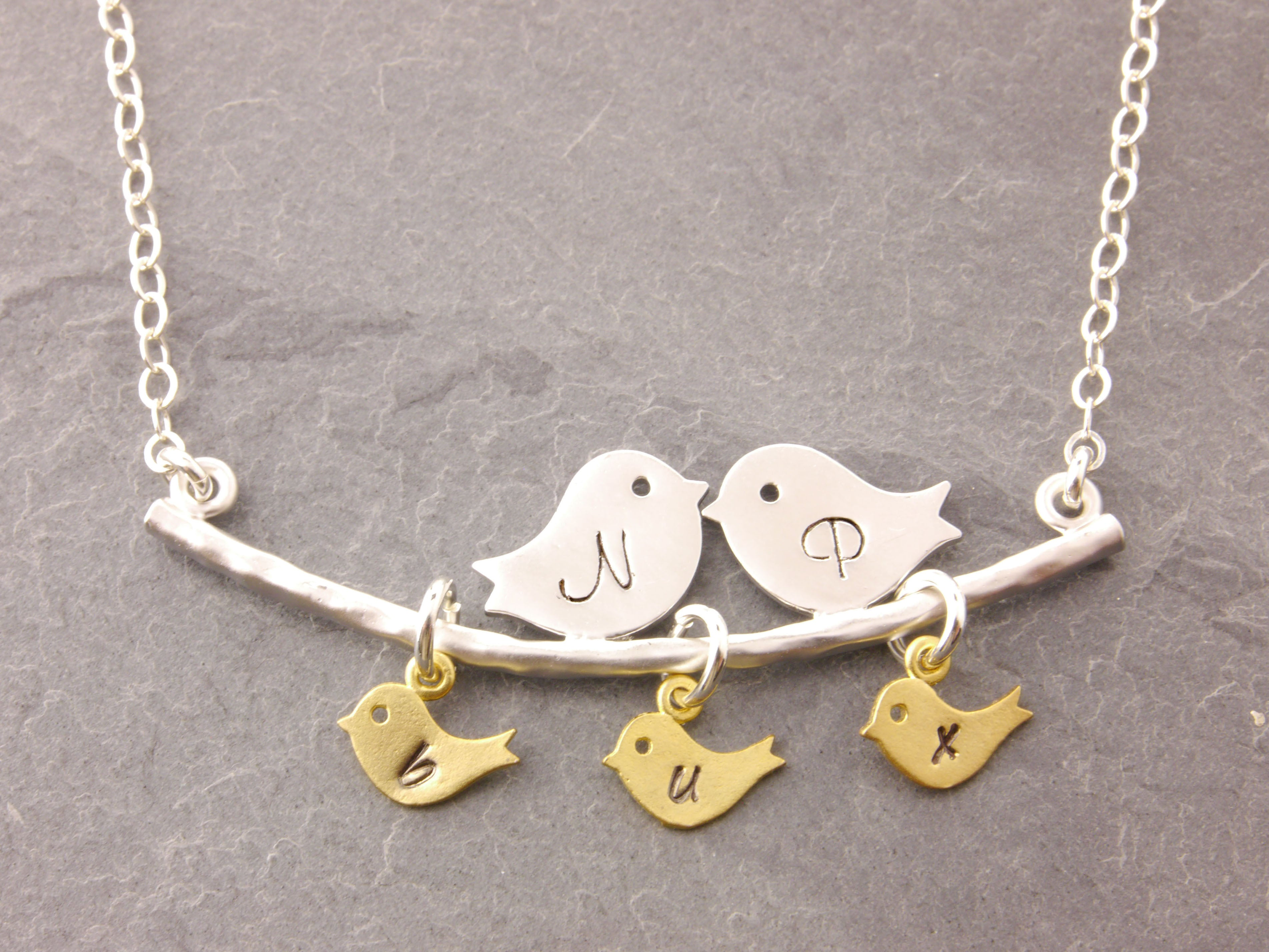 personalized love birds necklace