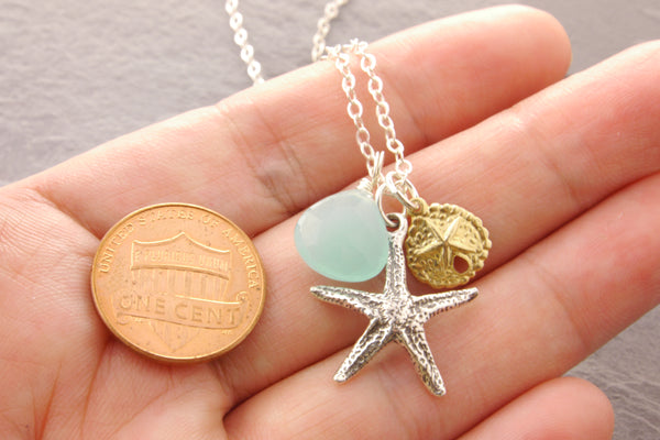 Starfish Necklace with Chalcedony