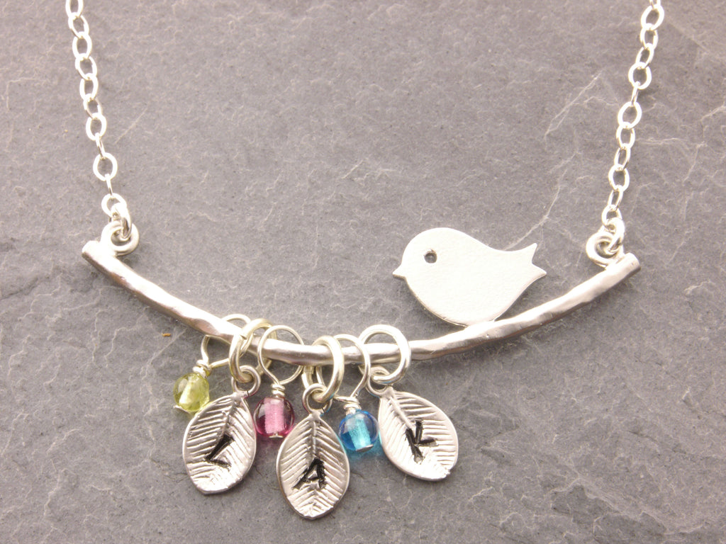 Bird Necklace with Leave and Birthstone