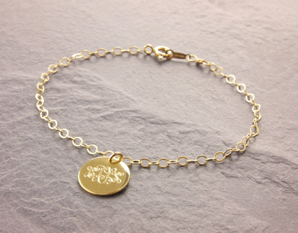 gold monogram disc bracelet