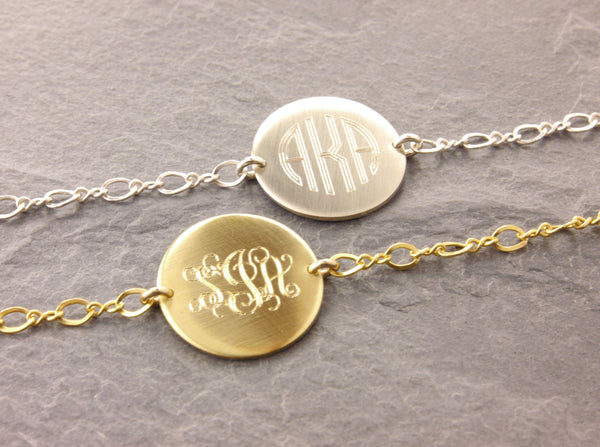 monogram bracelet on figure 8 chain