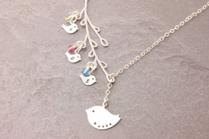 Long Branch Bird Necklace with Birthstones
