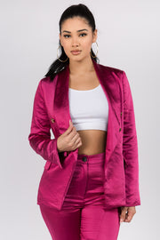 I promise you silky suit set- Fuchsia color