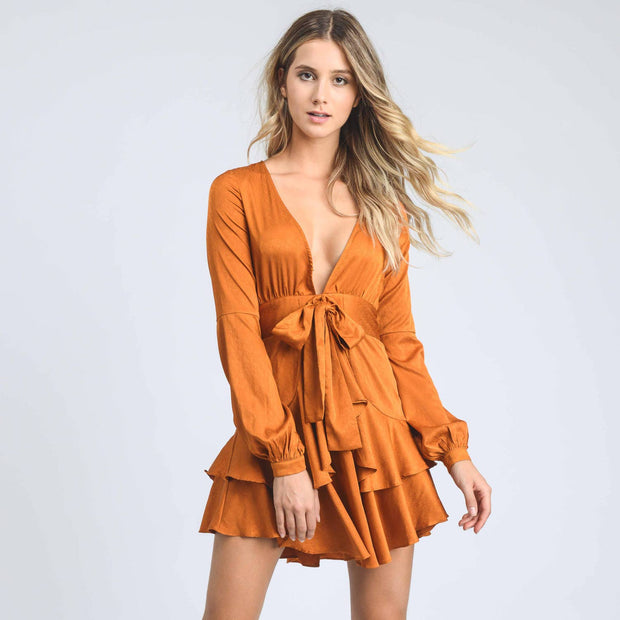 Storia Front tie V neck Mini Dress