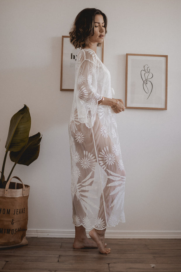 Solstice Floral Cotton Mesh Kimono Cover Up
