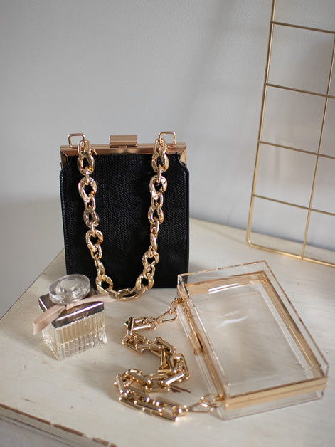 Acrylic Boxy Chain Strap purse