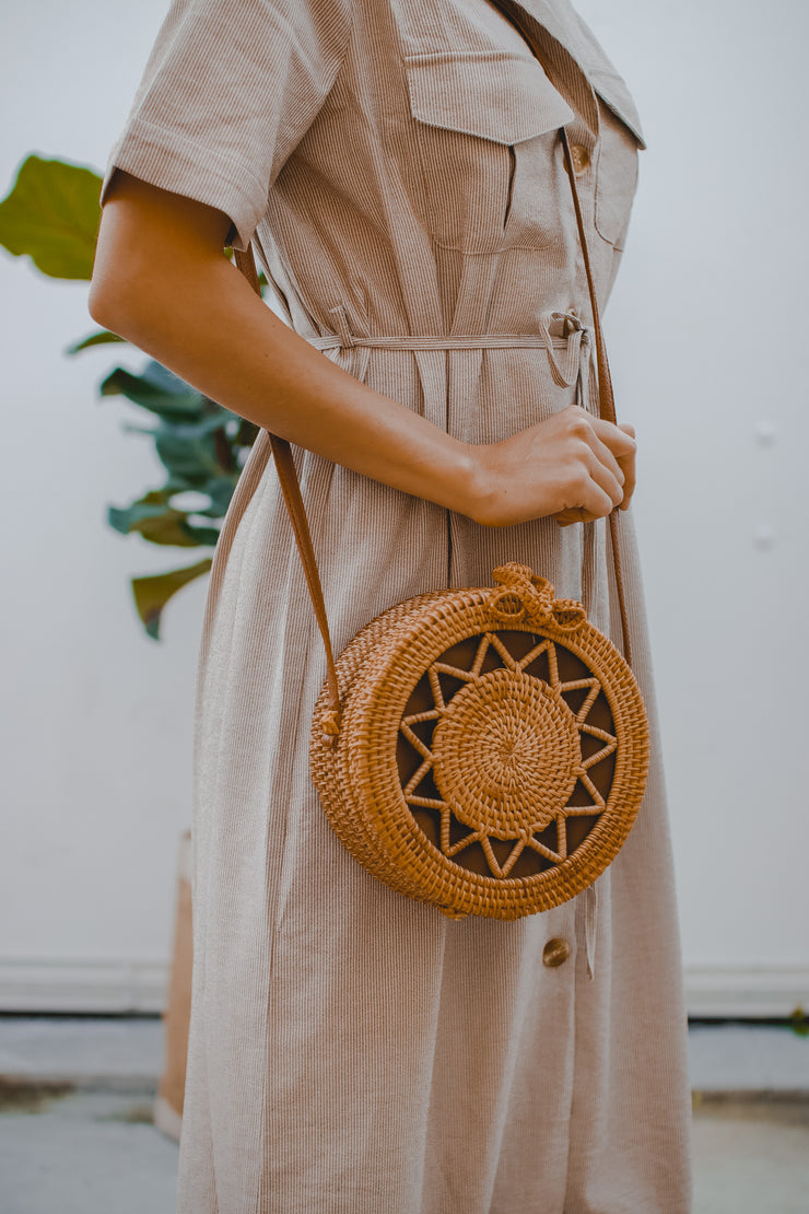 Field of dreams woven bamboo bag