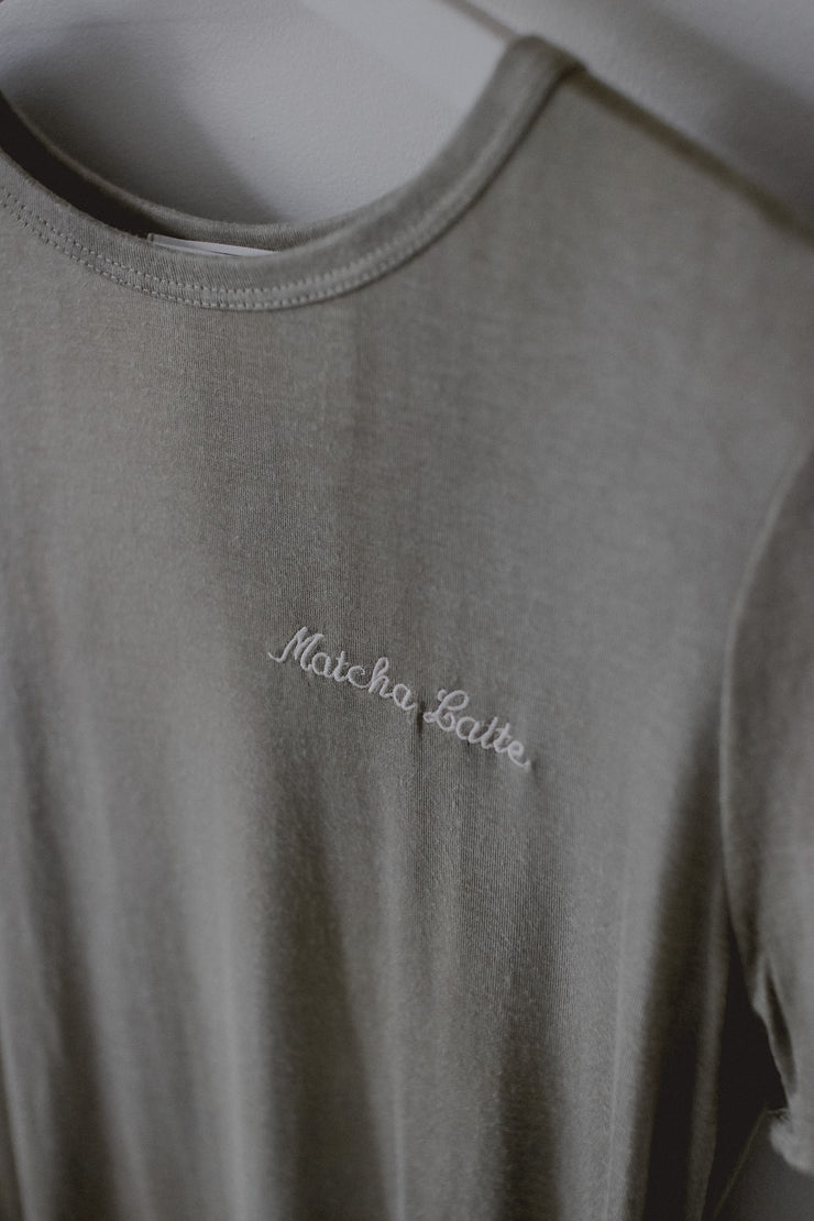 Love you so matcha embroidered tee