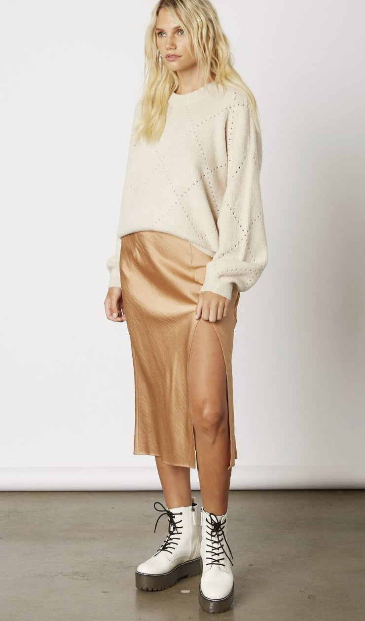 Almond Latte Satin Skirt