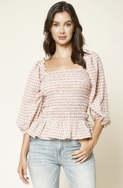The Rose Garden puff sleeve gingham top