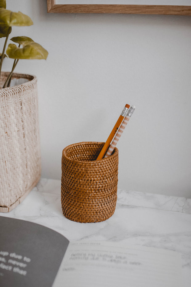 Rattan Pencil Holder / Desk Organizer