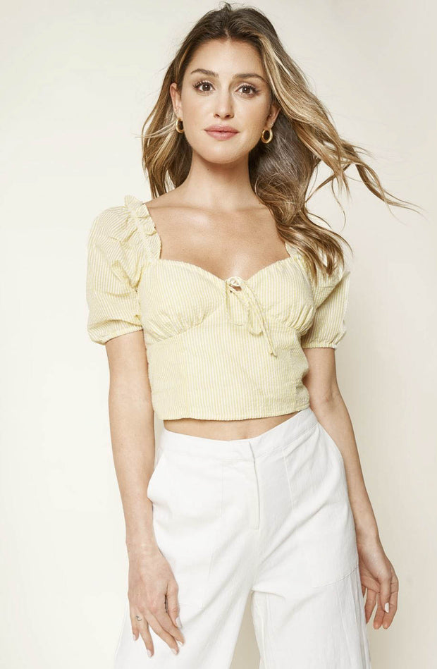 Las Casitas seersucker puff sleeve top
