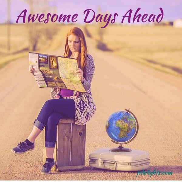 Awesome Days Ahead, girl, suitcase on road