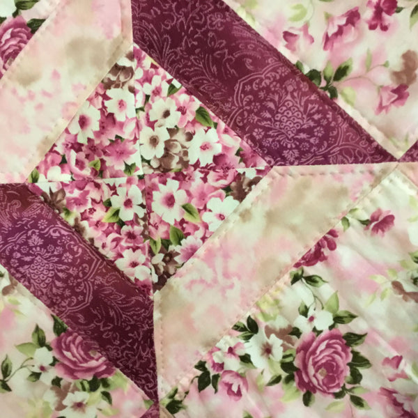 Pink Floral & Roses Lap Quilt/Throw