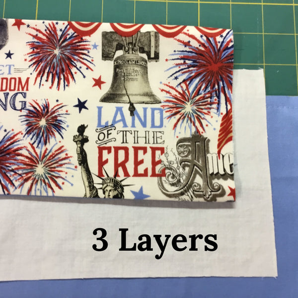 Face Mask-Patriotic print with fabric ties,