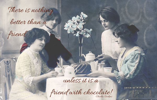 Friends with chocolate postcard