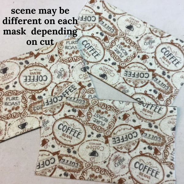 coffee Face mask scene may be different on each mask depending on cut