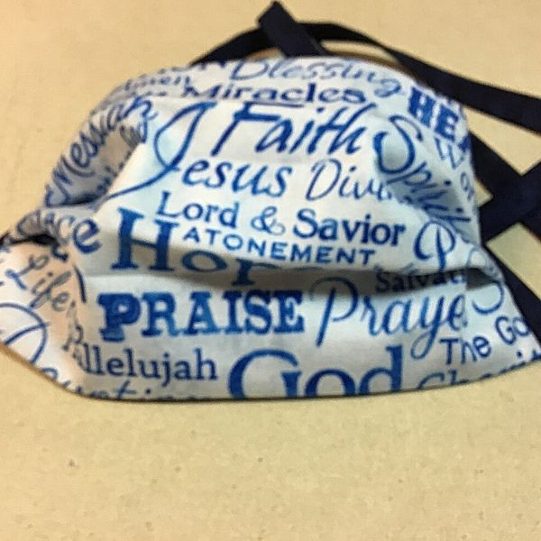 Facemask-Christian-Blue and White Words
