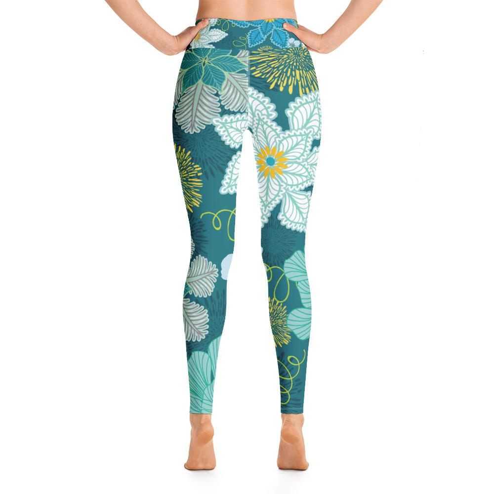 Leggings - Floral  High Waisted Leggings- Green