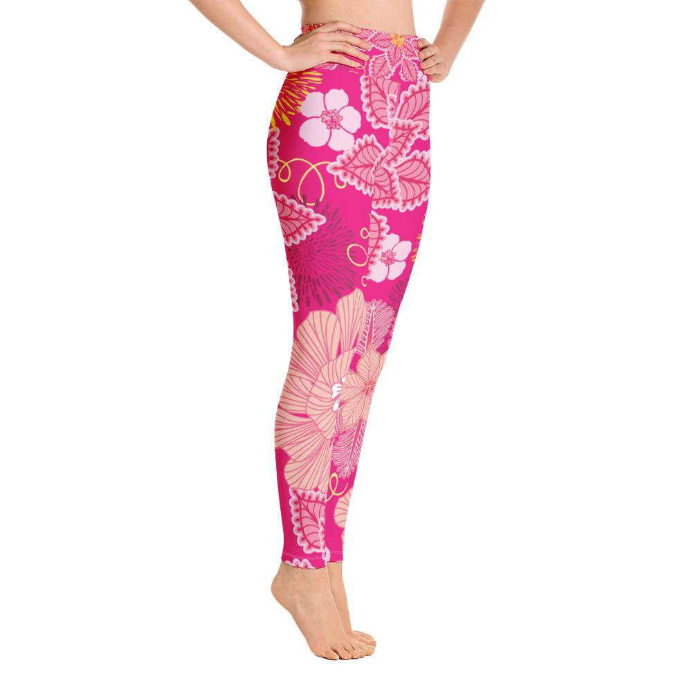 Leggings - Floral High Waisted Leggings- Pink