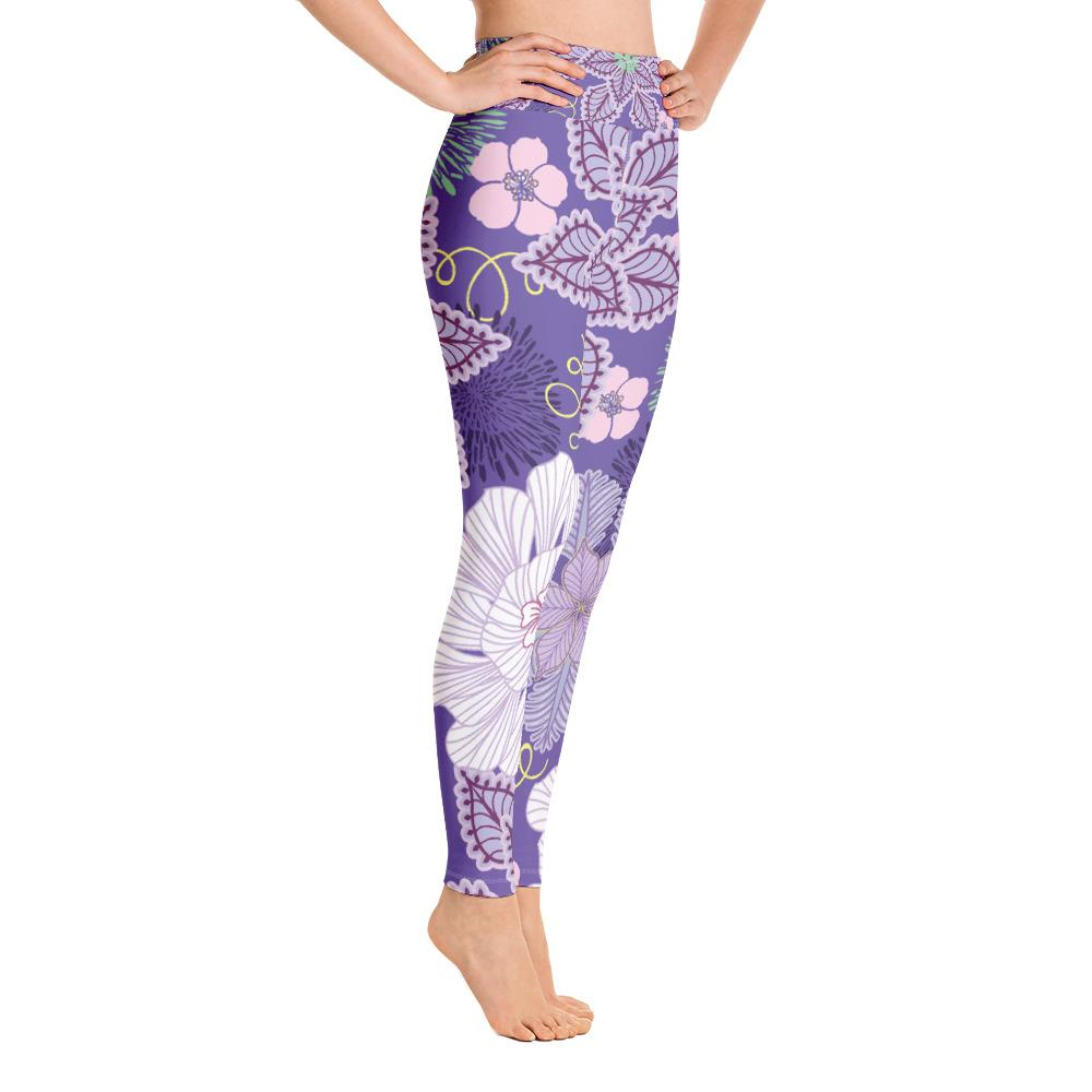 Leggings - Floral High Waisted Leggings- Purple