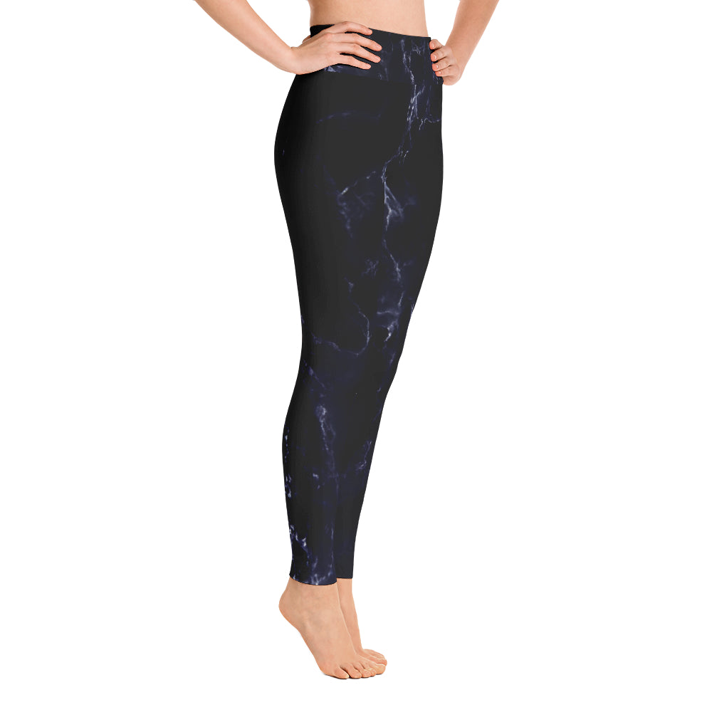 Marble High Waisted Leggings - Navy