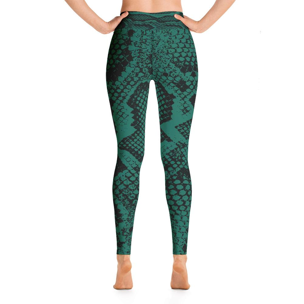 Snake Print High Waisted Leggings -Green