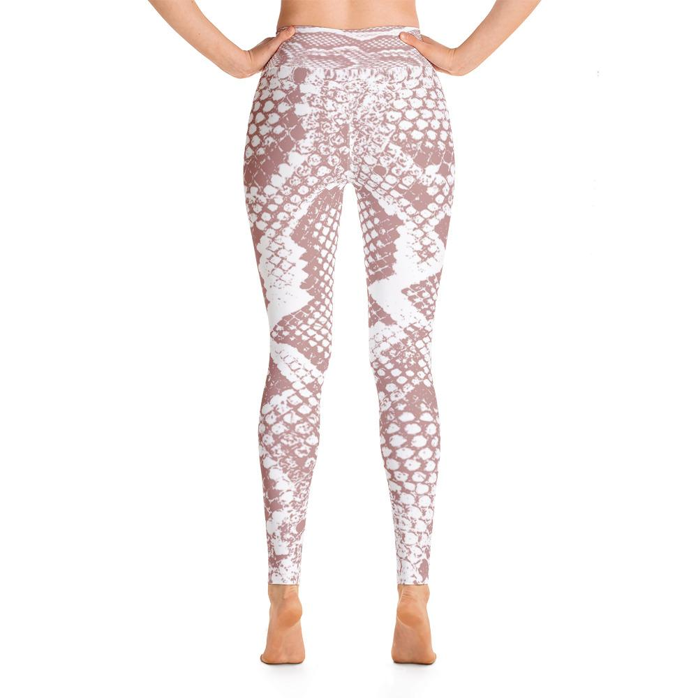 Snake Print High Waisted Leggings- Pink