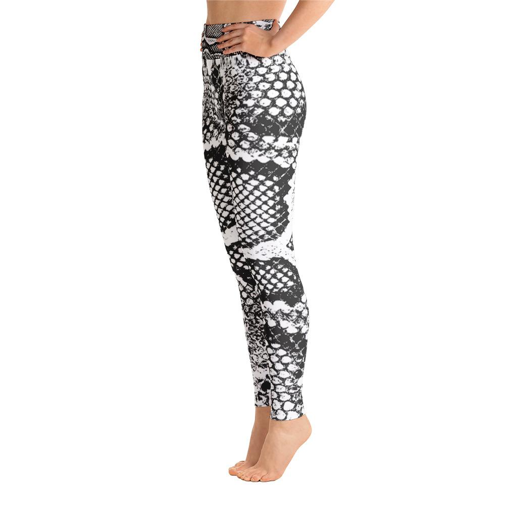 Snake Print High Waisted Leggings- White/Black