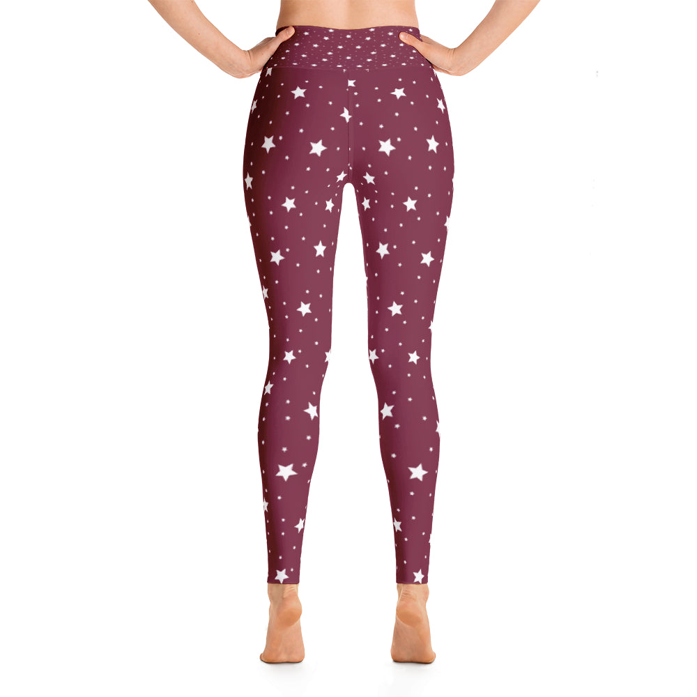 Starstruck High Waisted Leggings - Maroon