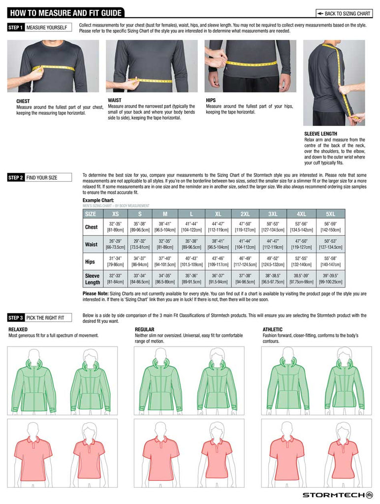 Stormtech Apparel Fit Guide