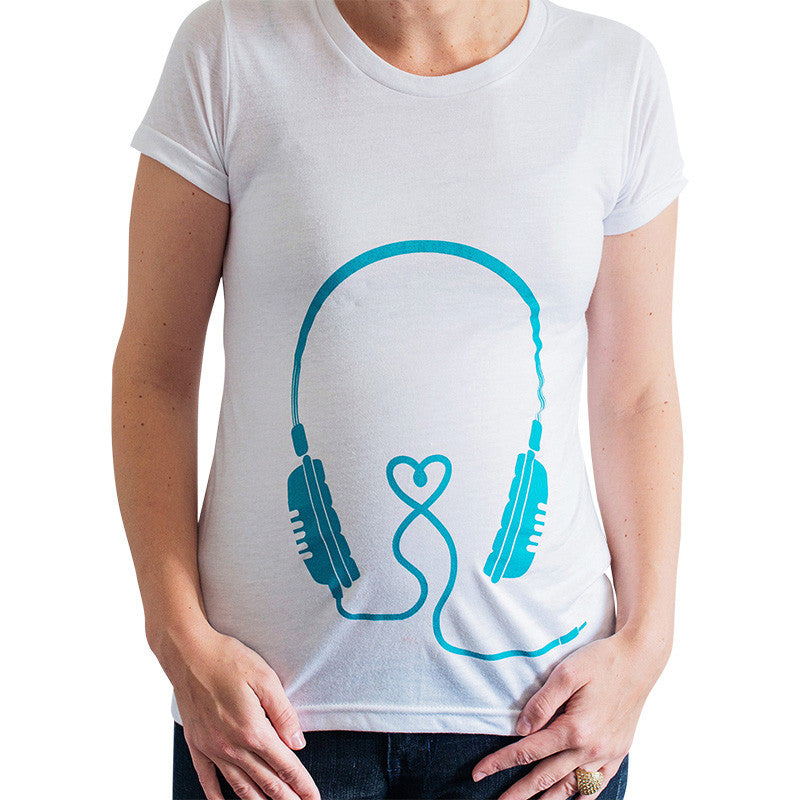 Headphones Maternity Tee (Blue)