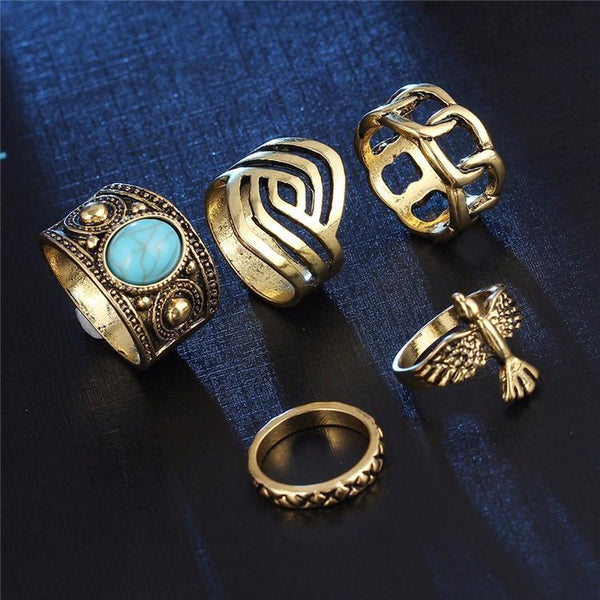 Eagle Charm Ring Set (5 Rings)