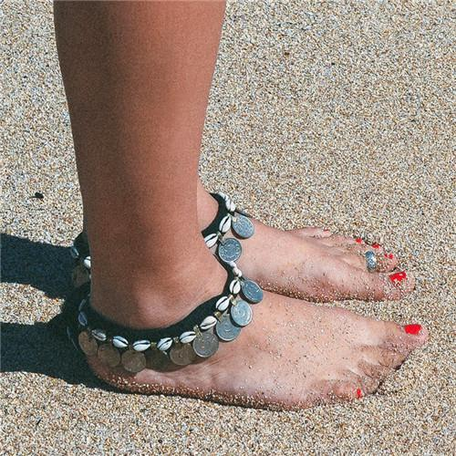 Silver Coin Shell Anklet