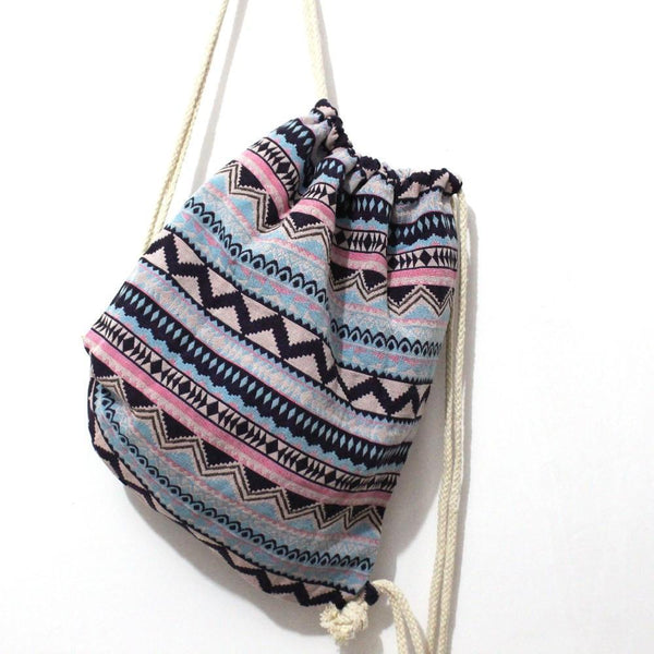Drawstring Boho Print Bag (Blue/Pink)