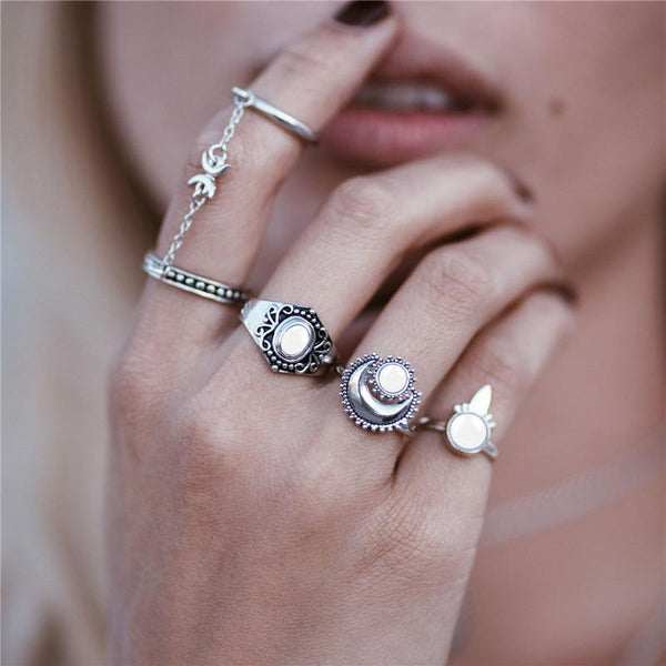 Sun & Moon Charm Ring Set