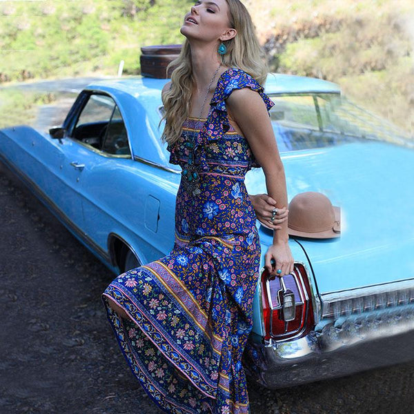 Elegant Backless Boho Dress