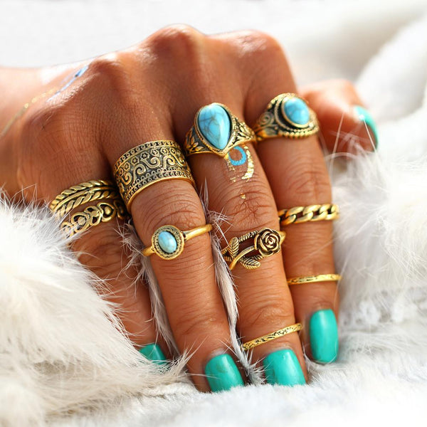 Antiqued Blue Stone Ring Set (10 rings)