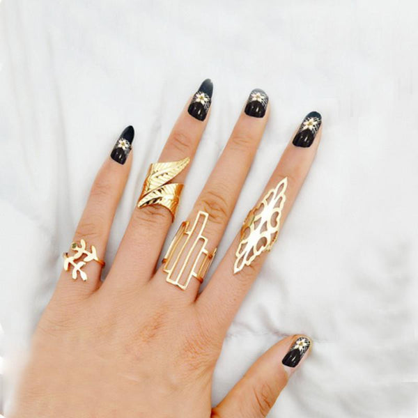 Geometric Boho Punk Rings (4 rings)
