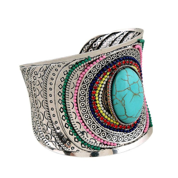 Patterned Gem Cuff Bracelet (Black/Blue)
