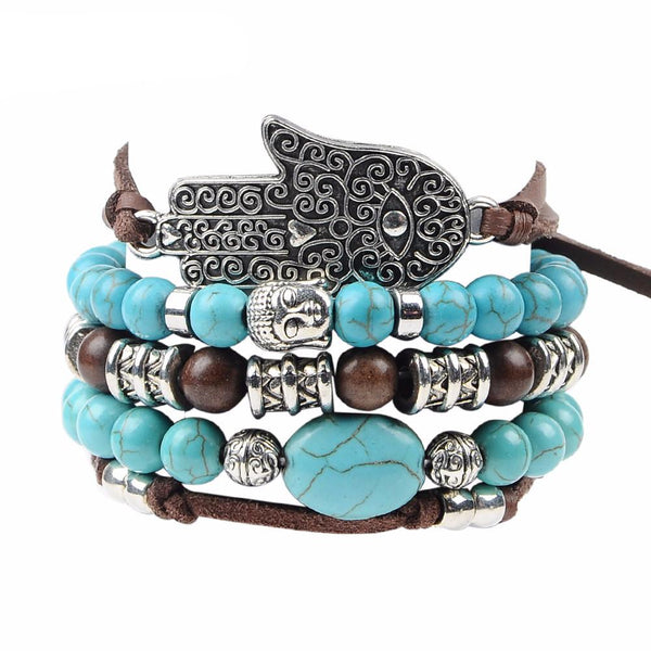 Hamsa Hand Turquoise Leather Bracelet