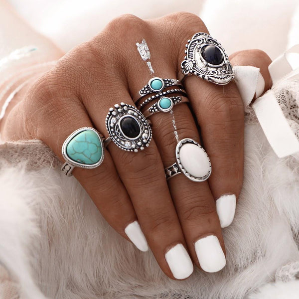 Vintage Turquoise Charm Ring Set (5 Rings)