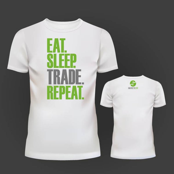 IML Wear - Men's White Classic Tee -  EAT. SLEEP. TRADE. REPEAT.