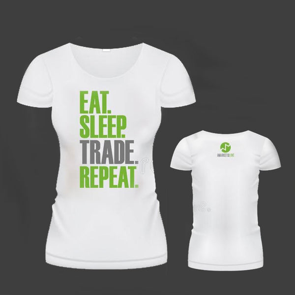 IML Wear - Women's White Classic Tee -  EAT. SLEEP. TRADE. REPEAT.