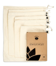 Organic Cotton Reusable Produce Bags - Pack of 6