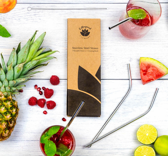 stainless steel straws plastic free metal straws set of four zero waste packaging