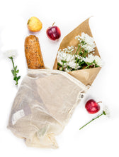 Organic Mesh Produce Bags - Set of 6 Reusable Bags for Groceries