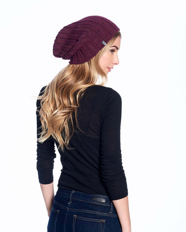 Alpaca Beanie Hat - Accordion -Marsala