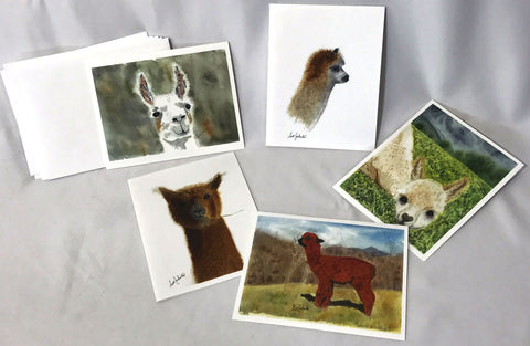 Blank Note Cards - Alpaca and Llama Art